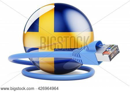 Internet Connection In Sweden. Lan Cable With Swedish Flag. 3d Rendering Isolated On White Backgroun