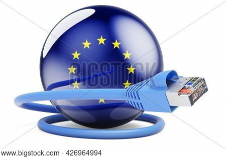 Internet Connection In The European Union. Lan Cable With The Eu Flag. 3d Rendering Isolated On Whit