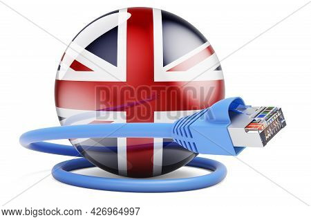 Internet Connection In The Great Britain. Lan Cable With British Flag. 3d Rendering Isolated On Whit