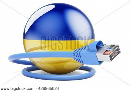 Internet Connection In Ukraine. Lan Cable With Ukrainian Flag. 3d Rendering Isolated On White Backgr