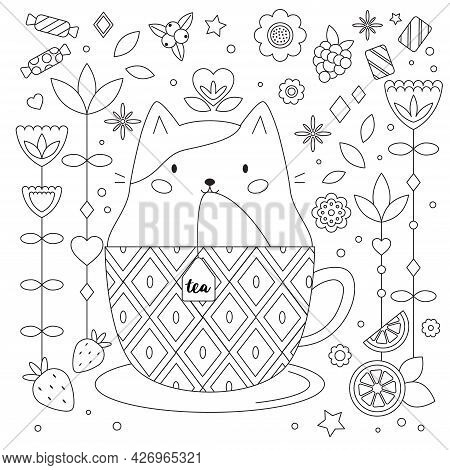 Doodle Antistress Coloring Page With Cat In Cup. Abstract Flowers, Fruits And Sweets. Cartoon Kawaii