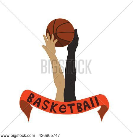 The Beginning Of A Basketball Game.   The Hands Of The Basketball Players Hit The Ball. Vector Illus