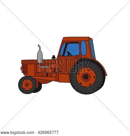 Agricultural Red Tractor, Hand-drawn, Vector Illustration, Rural Transport.