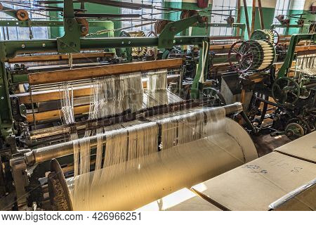 Lowell, Usa - Sep 26, 2017: Visit Of The Industry Museum Boott Cotton Mills In Lowell, Usa. The Mach