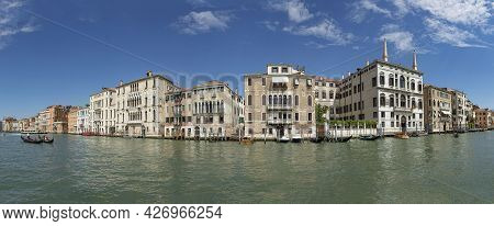 Venice, Italy - July 1, 2021: View To Canale Grande From Bridge Rialto In Afternoon Sun In Venice, I