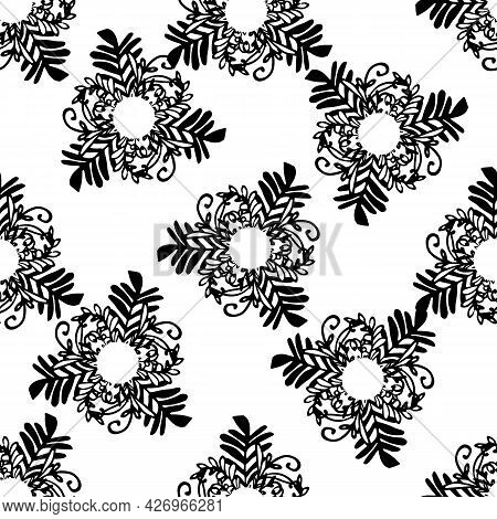 Vector Set Of Isolated Templates Made Of Branches With Plant Leaves. Frames With Empty Space For Tex