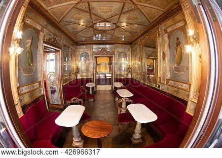 Venice, Italy - July 1, 2021: The Legendary Café Florian In Piazza Di San Marco (st Mark's Square).