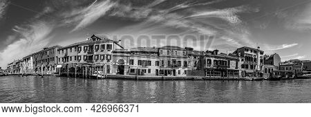 Murano, Italy - July 1, 2021: Panoramic View To Canal In Burano, The Island Of Venice With Historic