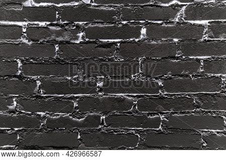 Rough Black And White Brick Wall Background. Solid Brickwork Texture. Horizontal Brickwall.