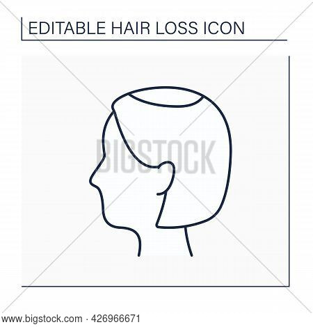 Hair Loss Line Icon. Woman Loses Hair. Widening Of Midline Part And Noticeably Decreased Hair Volume