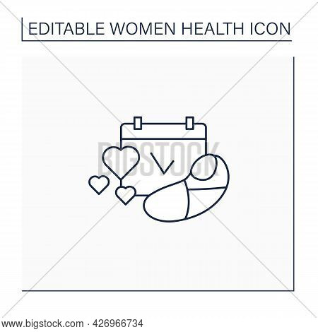 Family Planning Line Icon. Having Baby. Prudent Approach To Pregnancy Planning.women Health Concept.