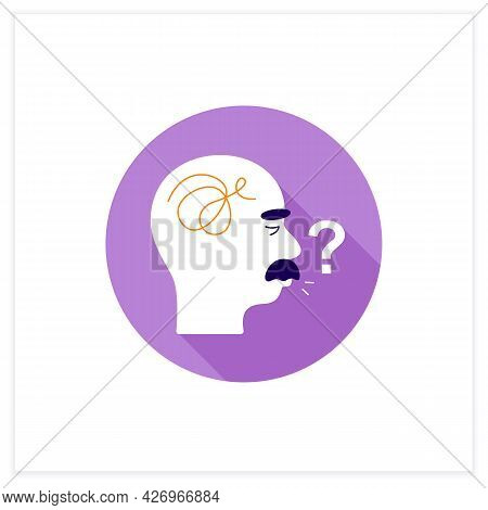 Speaking Problems Flat Icon.difficulties With Pronunciation, Spelling Sounds. Alzheimer Disease. Neu