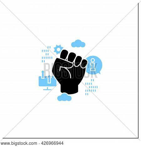 Information Revolution Glyph Icon. Fist Up. Saving, Sharing Info By Computers.digital Transformation