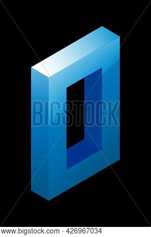 Gradient Blue Number 0 In Isometric Style. Isolated On Black Background. Water Texture. Learning Num