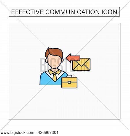 Receiver Color Icon. Message Delivered. Man Receive Email, Letter, Message From Job. Effective Commu
