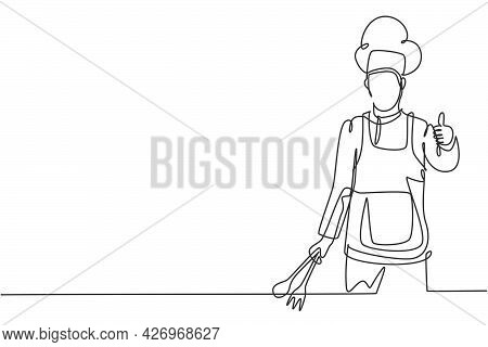 Single One Line Drawing Of The Chef With Thumbs-up Gestures And Uniforms Is Ready To Cook Meals For