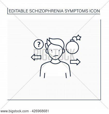Unpredictable Line Icon. Strange Actions. Aggression Outbursts.schizophrenia Symptoms Concept. Isola