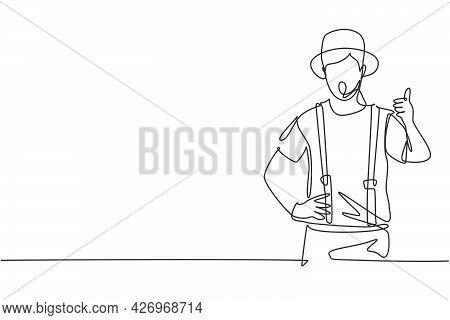 Single One Line Drawing Of Mime Artist With Thumbs-up Gesture And White Face Make-up Puts On A Silen