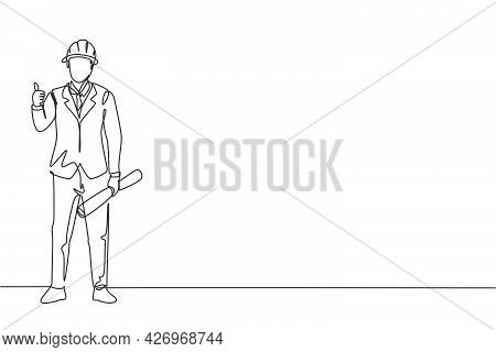 Continuous One Line Drawing Architect Stood With A Thumbs-up Gesture And Wearing A Helmet Carrying A