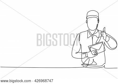 Single One Line Drawing Of Postman Wearing A Hat And Uniform With A Thumbs-up Gesture Holds The Enve