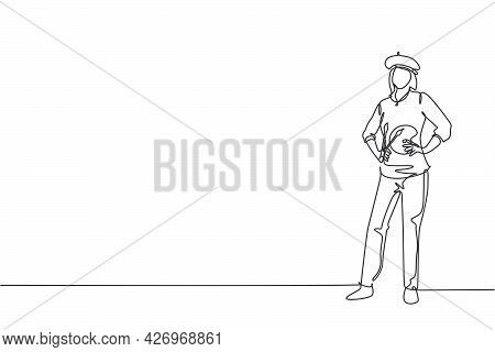Single Continuous Line Drawing Of Young Female Painter Artist Standing And Holding Hands On Hip. Pro