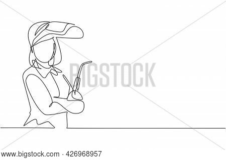 Single Continuous Line Drawing Of Young Female Welder Wearing Mask Posing Cross Arms On Chest. Profe