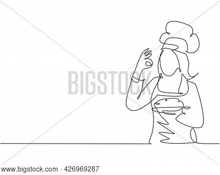 Single One Line Drawing Of Young Attractive Female Chef Making Excellent Taste Gesture To Delicious