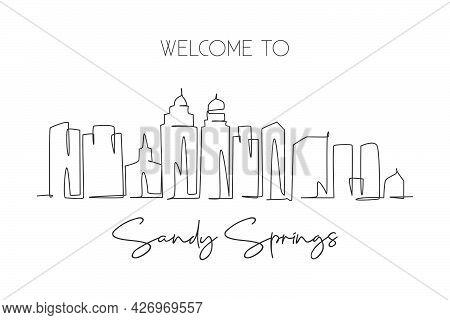 Single Continuous Line Drawing Sandy Springs Skyline, Georgia. Famous City Scraper Landscape. World