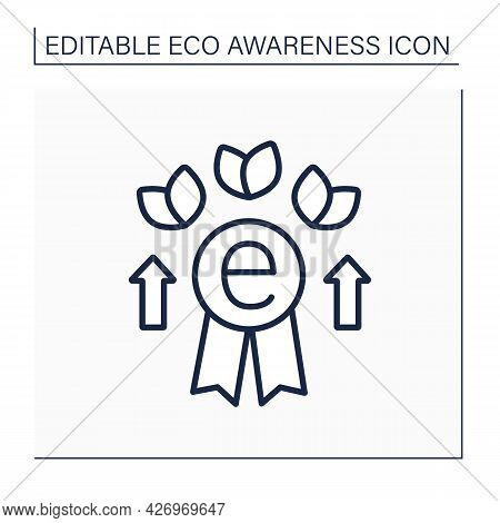 Award Line Icon. Eco Excellence For Supporting And Protecting The Environment. Prize For Eco-activis