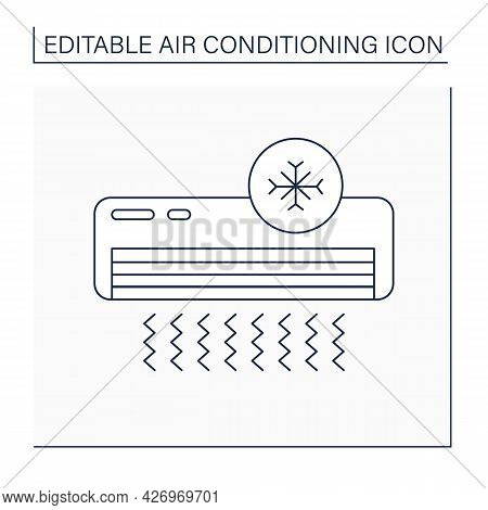 Cool Mode Line Icon. Default Mode. Conditioner Circulates Hot Air In Cold. Air Conditioning Concept.