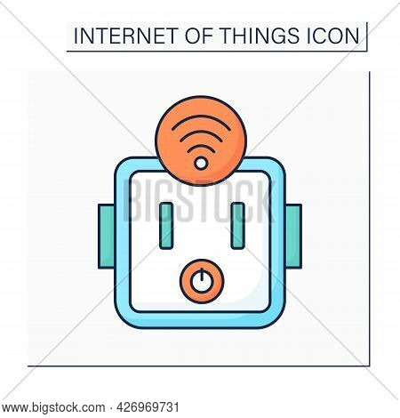 Smart Socket Outlet Color Icon. Smart And Safety House. Digital Smart Technologies Concept. Isolated
