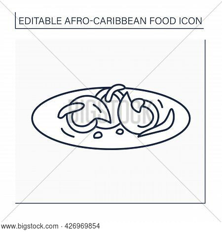 Peppered Snail Line Icon. Nigerian Appetizer. Tasty And Delicacy. Afro-caribbean Food.local Food Con