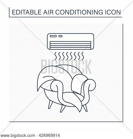 Air Conditioner Line Icon. Special Tool For Cooling Air In House. Home Interior. Air Conditioning Co