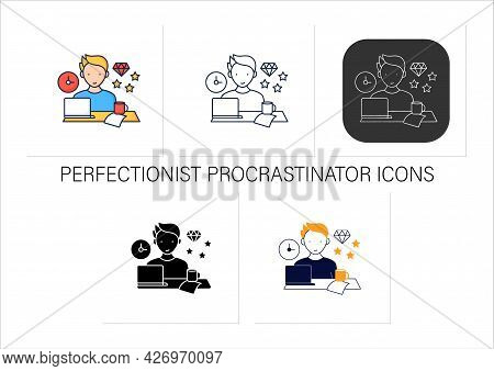 Perfectionist Procrastinator Icons Set. Set Large, Unattainable Goals. Tired To Solve Tasks.procrast