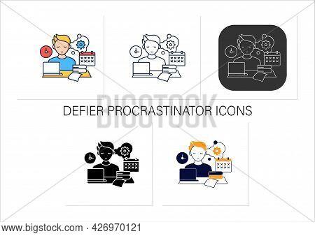 Defier Procrastinator Icons Set.avoid New Tasks. Finding Reasons Not Complete Tasks.procrastination