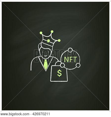 Nft Buyer Chalk Icon. Gain Possession Original Digital File. Buying Nft Files. Digitalization Concep