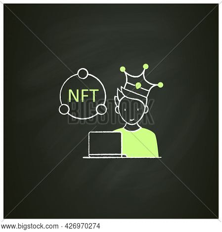 Nft Artist Chalk Icon. Content Creator. Crypto Artist. Creating More Nfts Works. Having Copyright. D