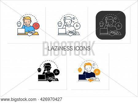 Laziness Icons Set.postpone Unpleasant Tasks For Later.delay. Lazy Person. Procrastination Concept.c