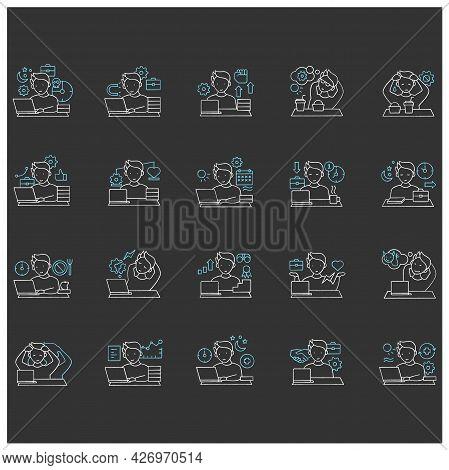Workaholic Chalk Icons Set. Workaholism Prevention And Consequences. Workaholism Treatment, Ethic An