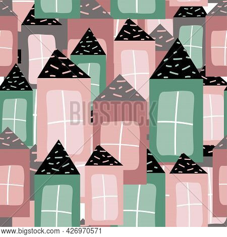 Trendy Funny Pattern With Colored Houses.home Cozy Concept Hand Drawn Design  For Print, Typography,