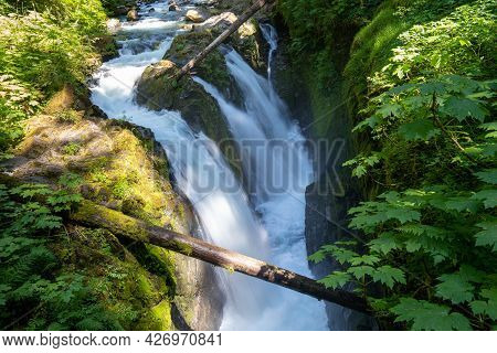Sol Duc Falls Waterfall, Daytime Long Exposure, With Silky Water, Taken On A Sunny Day In Olympic Na