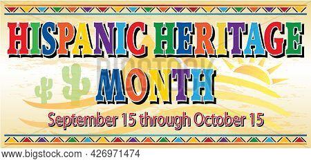 Hispanic Heritage Month With Desert Background Banner