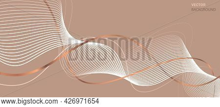 Business Background Lines Wave Abstract Stripe Design. Abstract Beige Background With Bronze Stripes