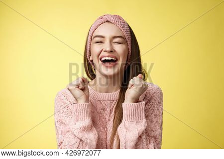 Relieved Happy Triumphing Attractive European Woman Wearing Pink Knitted Sweater Yelling Yes Satisfi