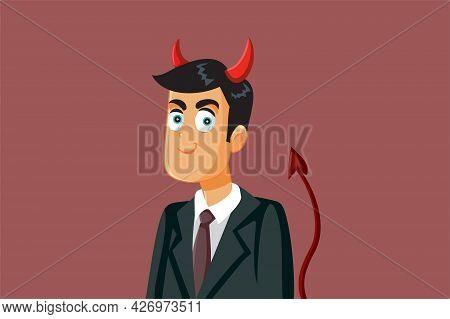 Funny Evil Devil Businessman Vector Cartoon Illustration