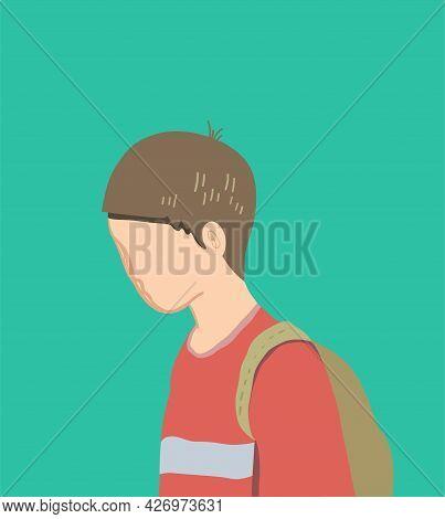Sad Alone Boy With School Bag On Green Background. Cartoon Minimalistic Vector Illustration