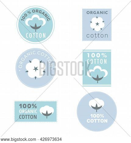 Collection Of Cotton Labels And Organic Cotton Signs With Delicate Pastel Colors Isolated On White B
