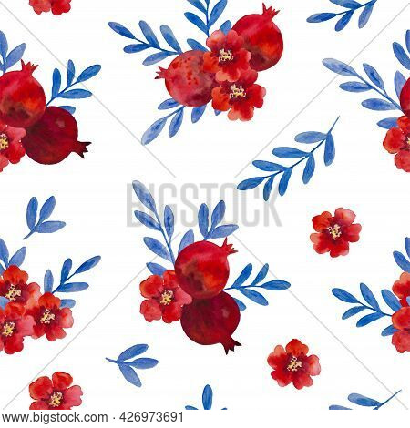 Watercolor Seamless Pattern With Pomegranate Flowers And Branches. Hand Painted Illustration.