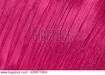 Beauty Product Sample Closeup. Purple Cosmetics Smear Pattern. Liquid Lipstick Cosmetic. Pink Swatch