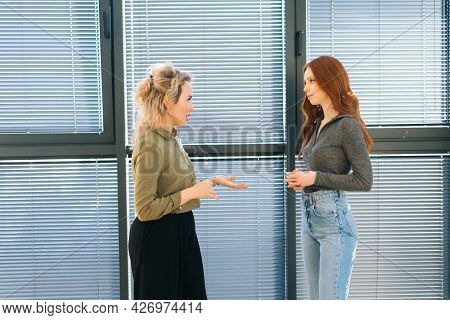 Front View Of Young Redhead Businesswoman Having Business Conversation With Caucasian Coworker, Disc